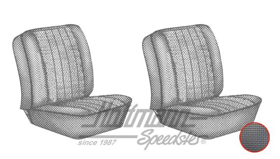 Seat upholstery, front seats, 62-67, black